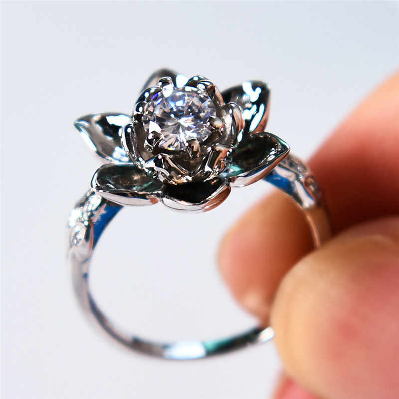 Fashion Female Crystal Aaa Zircon Finger Ring Unique Lotus Design White Gold Filled Engagement Rings For Women Wedding Jewelry Aliexpress
