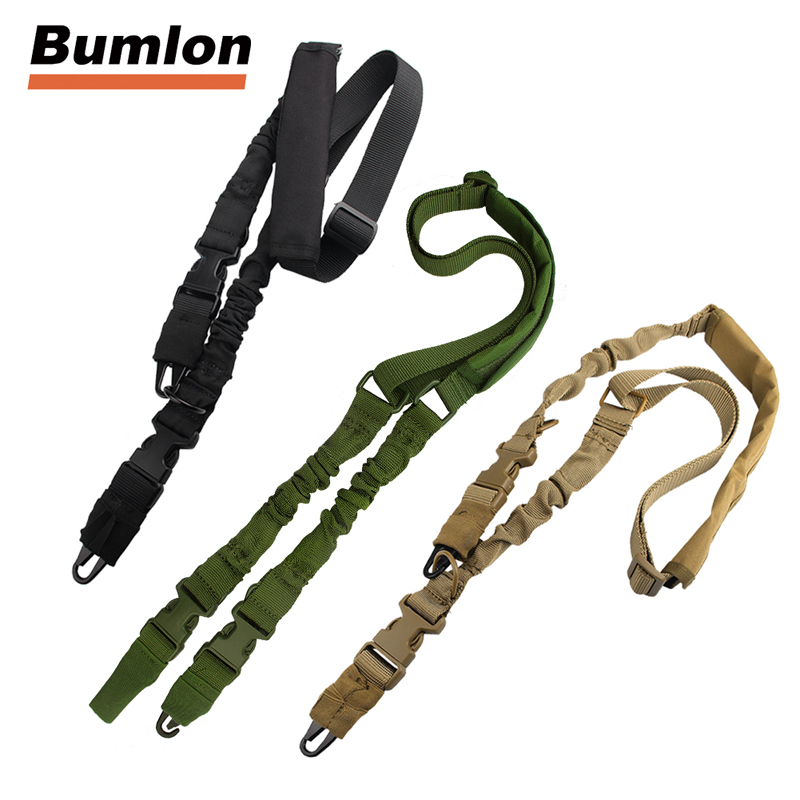 Tactical 2 Two Points Gun Sling Adjustable Strap Bungee with QD Buckles & Shoulder Protecter for Hunting Airsoft HT30-0006 tourbon tactical rifle gun sling with swivels shotgun carrying shoulder strap black genuine leather belt length adjustable