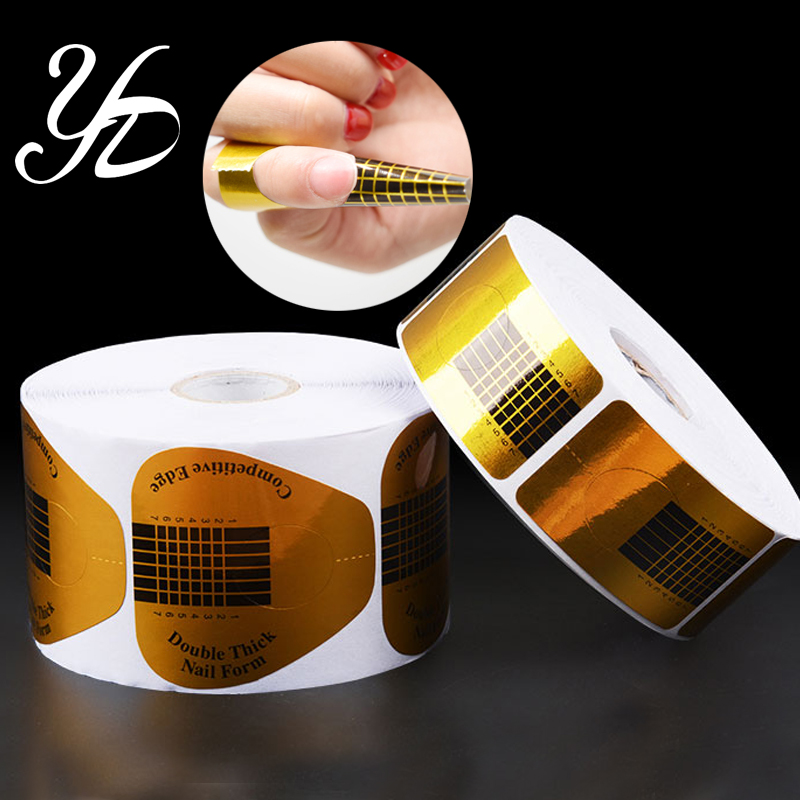 Yiday 1roll 500pcs Nail Forms Extension Guide Art Sticker Tape Tips Acrylic UV Gel Sculpting Form French Style DIY Tools