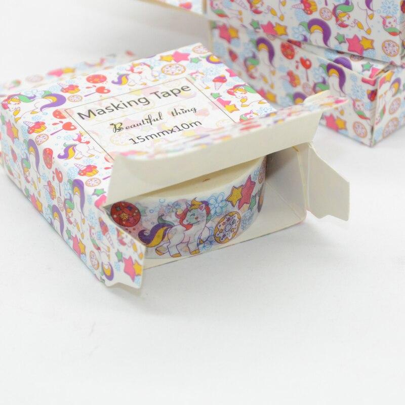Animal Washi Tape 10m Unicorn Wide Thin Cartoon Pink And White Washi Tape Decorado Stickers Scrapbooking Wonderland Stickers