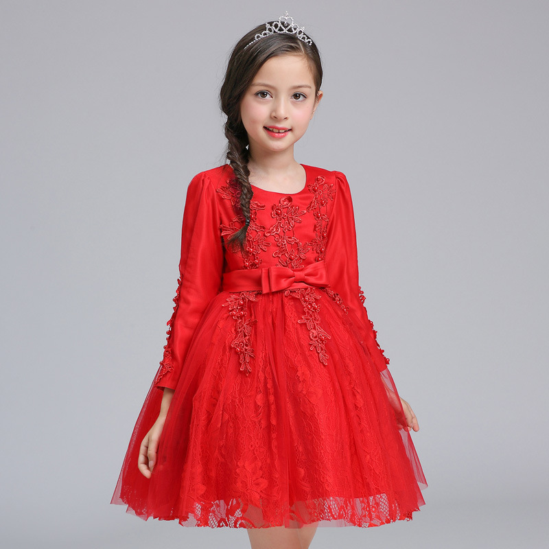 3-9yrs Autumn Lace Girls Dress Long Sleeve Girls Clothing Princess Party Birthday Evening Dresses Girl Costume Kids Red Cloth girls evening dress autumn long sleeved lace princess dresses children clothes 2 16y baby girl costume kids birthday party dress