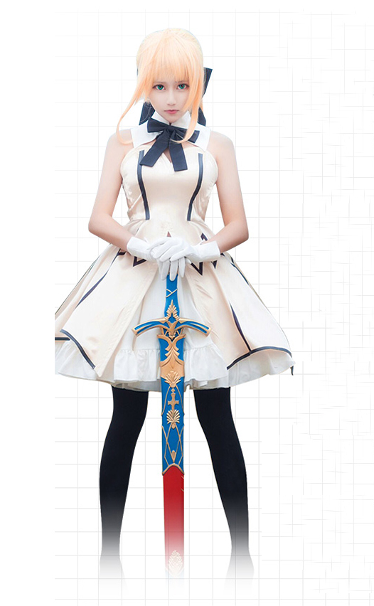 Saber Lily Cosplay Fate Stay Night Costume Fate Zero Cosplay  Saber Lily White Dress Costume Women Beautiful Dress