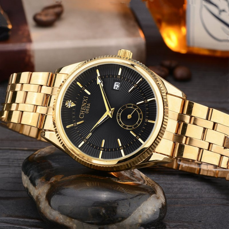 NATATE Top Fashion Brand Luxury CHENXI Watch Men Golden Business Casual Quartz Wristwatch Waterproof Male Relogio