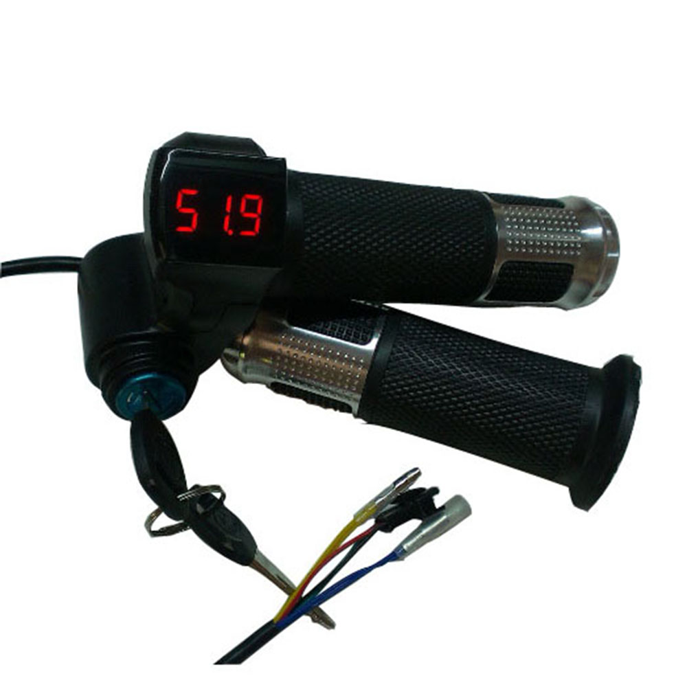 24v/36v/48v/60v/72v Twist Throttle Ebike With Battery Power Lcd Display Switch Handlebar Grips For Electric Bike/Scooter/Ebike