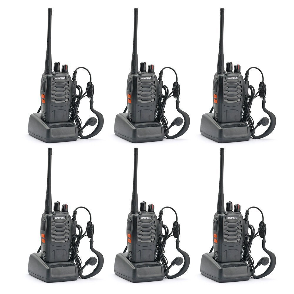 6pcs Baofeng 888s Walkie Talkie 5W UHF 400-470MHZ Handheld Portable Two way Radio BF-888S Ham Transceiver 1500mAh battery