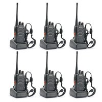 6pcs Baofeng 888s Walkie Talkie 5W UHF 400 470MHZ Handheld Portable Two way Radio BF 888S Ham Transceiver 1500mAh battery