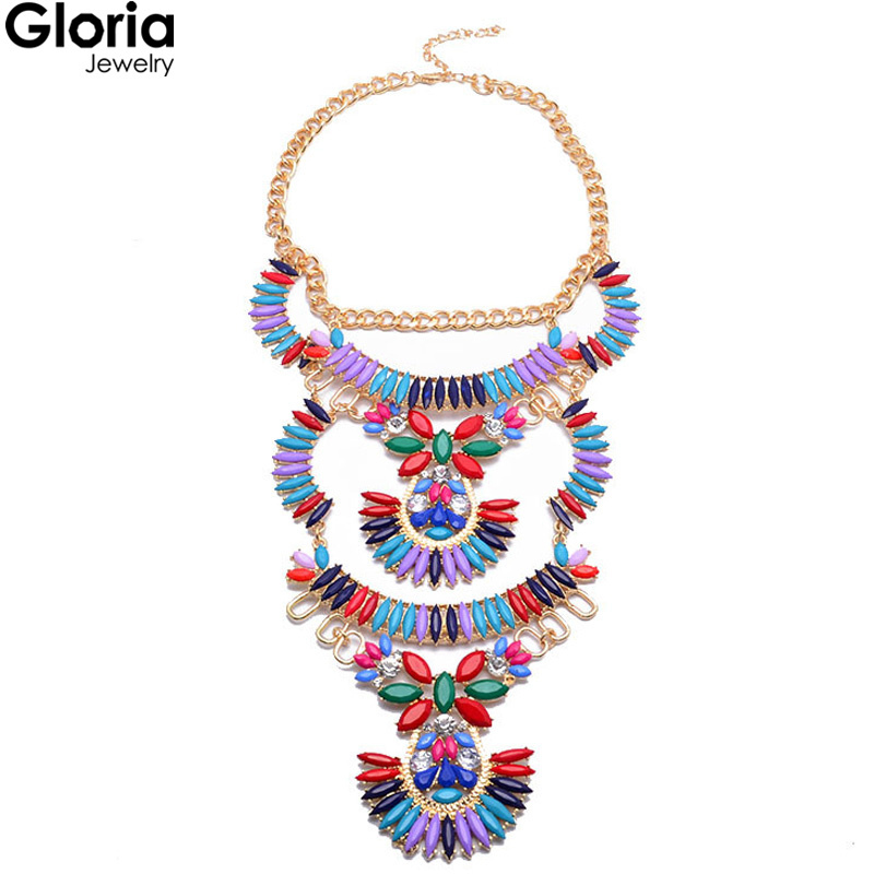 Gloria 2015 summer women fashion jewelry crystal colorful flower multi layer Hollow statement pendant necklace 8248