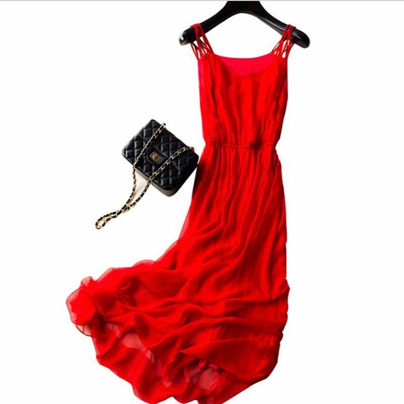 Novo 2019 real 100% vestido de seda das mulheres de seda natural alta qualidade elegent cinta espaguete férias praia vestido longo vermelho frete grátis - 6