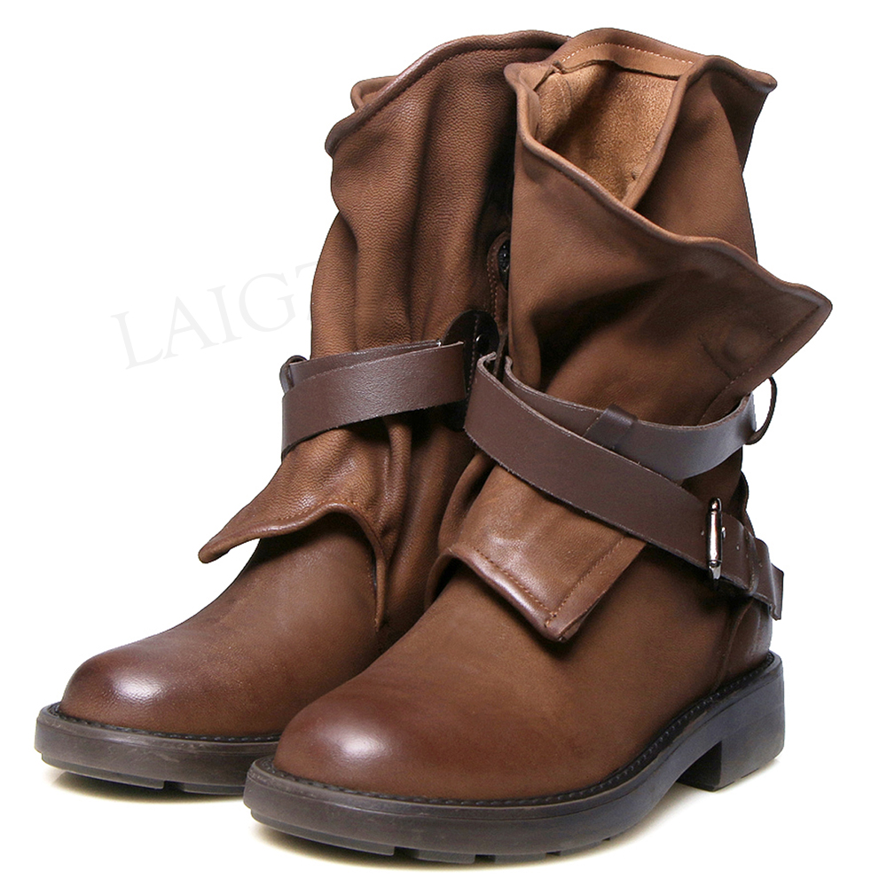 LAIGZEM VINTAGE Women 100% Genuine LEATHER Ankle Boots Low Chunky Heels Riding Boots Ladies Botines Mujer Quality Shoes WomanLAIGZEM VINTAGE Women 100% Genuine LEATHER Ankle Boots Low Chunky Heels Riding Boots Ladies Botines Mujer Quality Shoes Woman