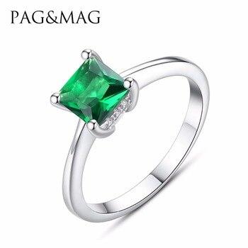 fe62bfcc00f5 PAG y MAG marca nuevo diseño elegante rómbica Esmeralda buena calidad Zircon  anillo de Plata de Ley 925 Anillos De Compromiso joyas para las mujeres