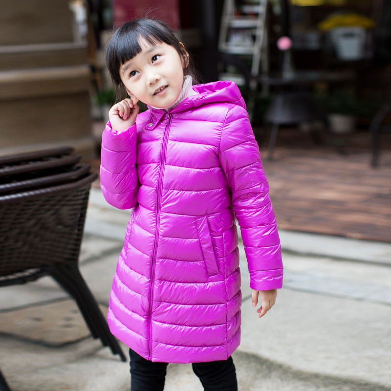 ФОТО Free shipping 2016 children new style down jacket boy hooded thin coats of the girls 120-160
