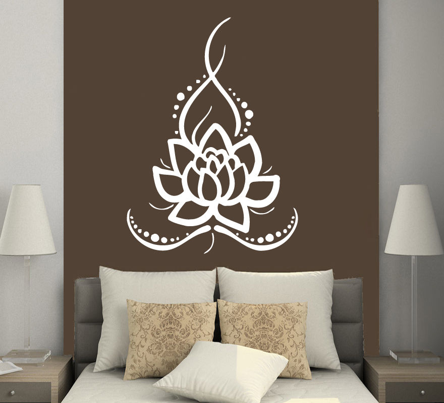 Removable Home Wall Stickers Vinyl Decals Yoga Lotus Indian Buddha Stickers Mural Room Decals CW 38 in Wall Stickers from Home Garden