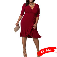 Plus Size Fall 3 4 Sleeve Lace Up Flounced Wrap Dress Ruffles Hem Large Size Offcial