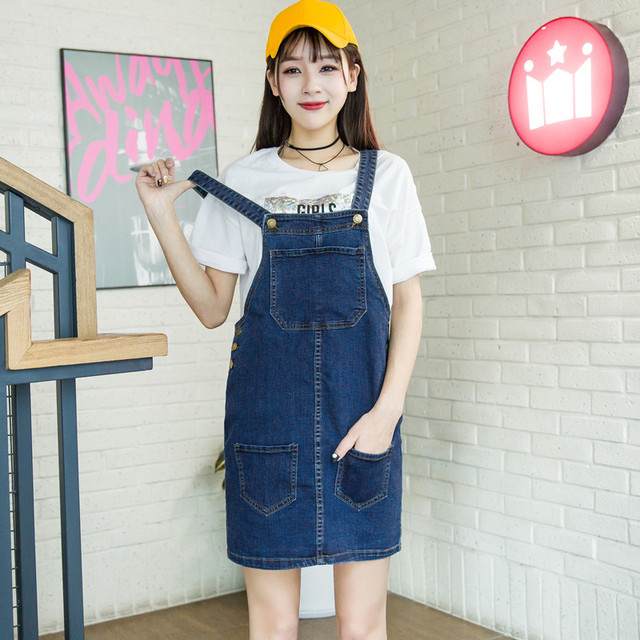 7e24c0859acc9 Plus Size Bib Overalls Denim Skirts Women s Cotton Blue Suspender Denim  Skirt High Waist Midi Jeans Skirts Saias Faldas J1765