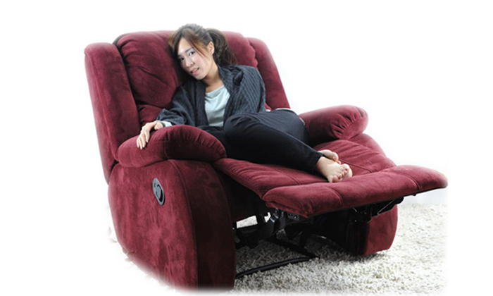 Free Shipping Modern American Style First Class Recliner Chair With Flocking Fabrics Best Living Room Bed