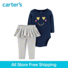 2pcs babysoft smiley face bodysuit cute tutu pants cotton set Carter's baby girl spring autumn clothing 121I908