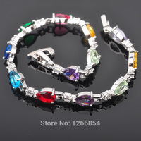 Classic Multicolor Cubic Zirconia Silver Jewelry For Women Link Chain Bracelet 7 inch Free Shipping R01281