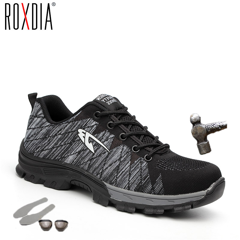 ROXDIA Brand Steel Toecap Women Men Work & Safety Boots Steel Mid Sole Impact Resistant Soft Male Shoes Plus Size 39-48 RXM106(China)
