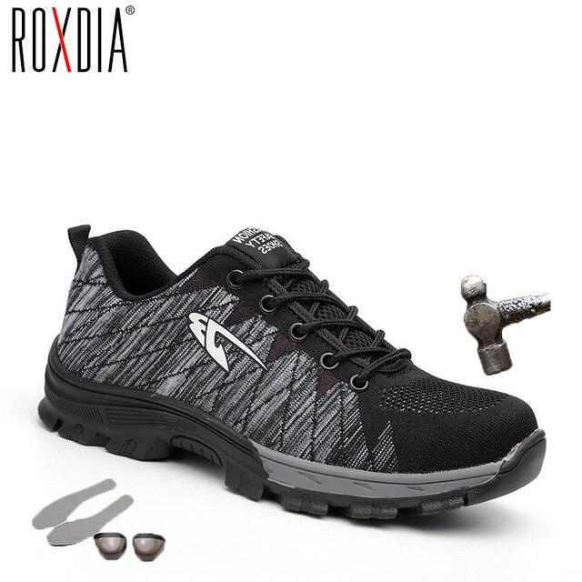 ROXDIA marka çelik burun koruyucu kadın erkek İş ve güvenlik botları çelik orta taban darbe dayanıklı yumuşak erkek ayakkabı artı boyutu 39-48 RXM106