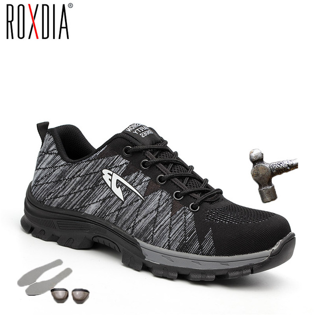 ROXDIA marke stahlkappe frauen männer arbeit & sicherheit stiefel stahl mid sohle auswirkungen beständig weichen männlichen schuhe plus größe 39-48 RXM106