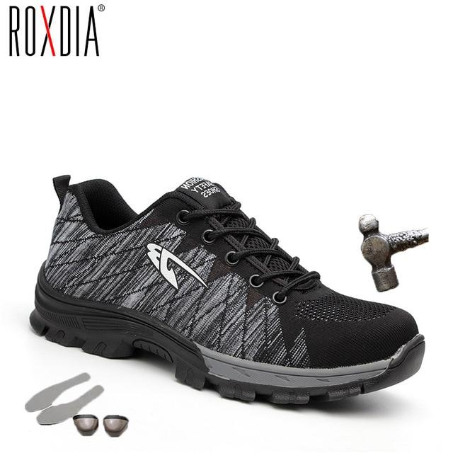 ROXDIA ブランドスチールつま革女性男性は & 安全靴鋼 mid 唯一耐衝撃ソフト男性の靴プラスサイズ 39-48 RXM106