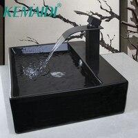 KEMAIDI прямоугольный ванная комната шампунь черный шар керамика столешницы Чаша умывальник раковина судно с Pop Up Слива кран наборы для ухода з