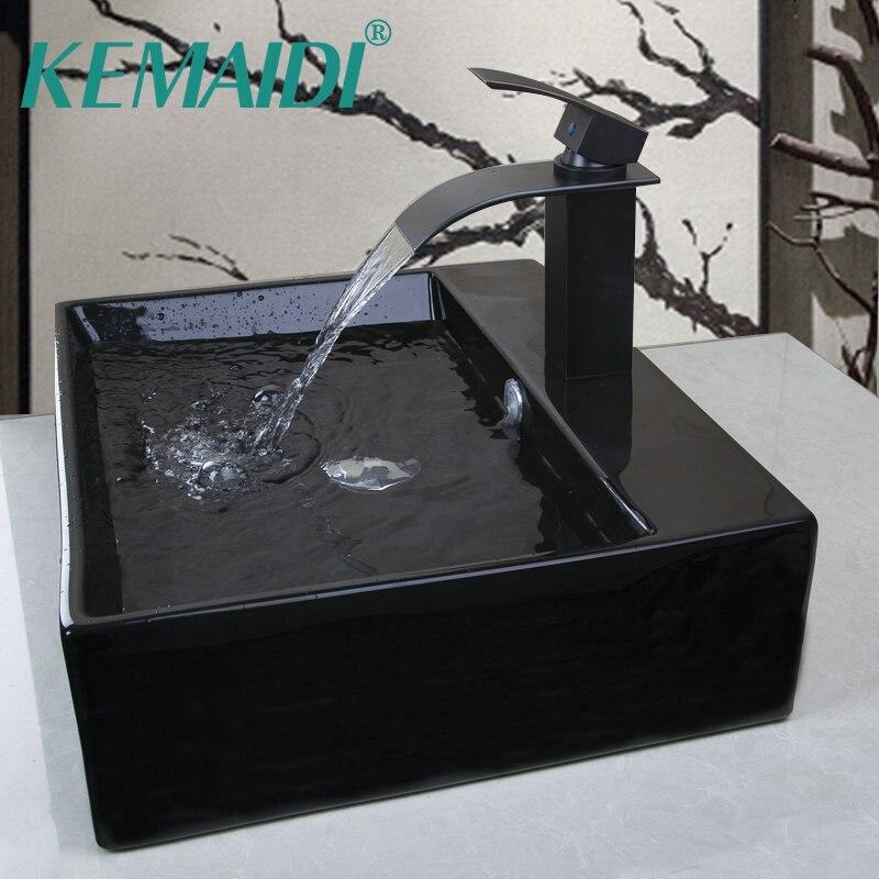 KEMAIDI Shampoo ORBE Preto Cerâmica Bancada Do Banheiro Retangular Bacia bacia de Lavagem Bacia Navio Pia Com Pop Up Drain Torneira conjuntos