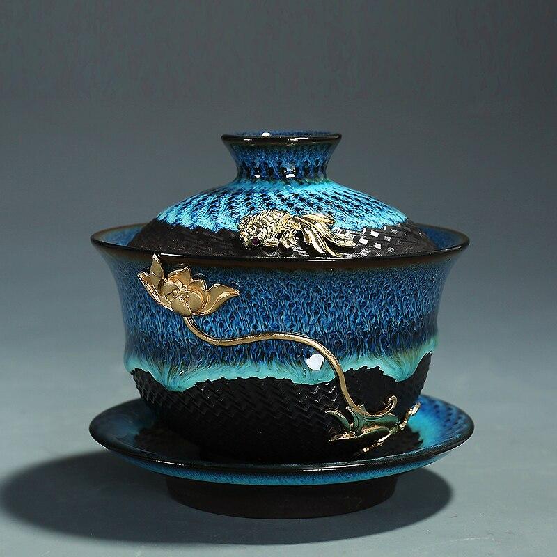 Creative Colored Ceramic Gaiwan Bowls 2