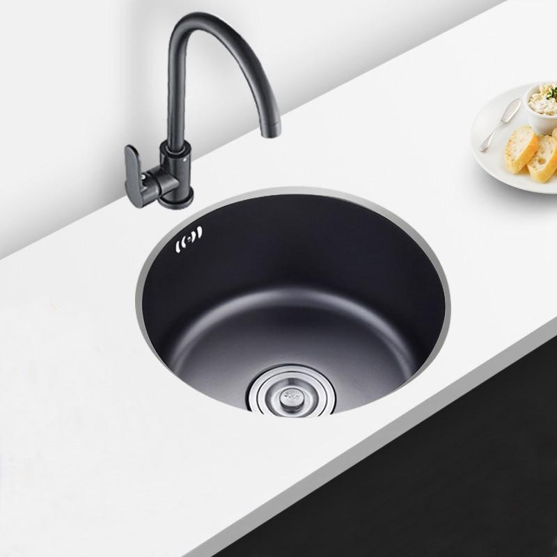 Nano rond noir mini petite barre 304 en acier inoxydable avec un seul réservoir balcon xiancai bassins de l'évier de cuisine