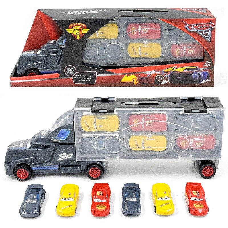 7Pcs/set Disney Pixar Cars 3 Lightning McQueen Jackson Storm Mack Uncle Truck 1:55 Diecast Toy Vehicles Gift Toys For Children