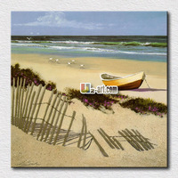 Beautiful Beach Boat And Sea Picture Oil Paint Seascape Canvas Prints For Living Room Decoration 24