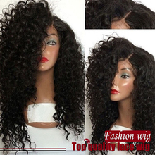 Free Shipping 16-28 Inch Black Jerry Curl Wig 100% Heat Resisitant Fiber Synthetic Lace Front Wig for Black Women