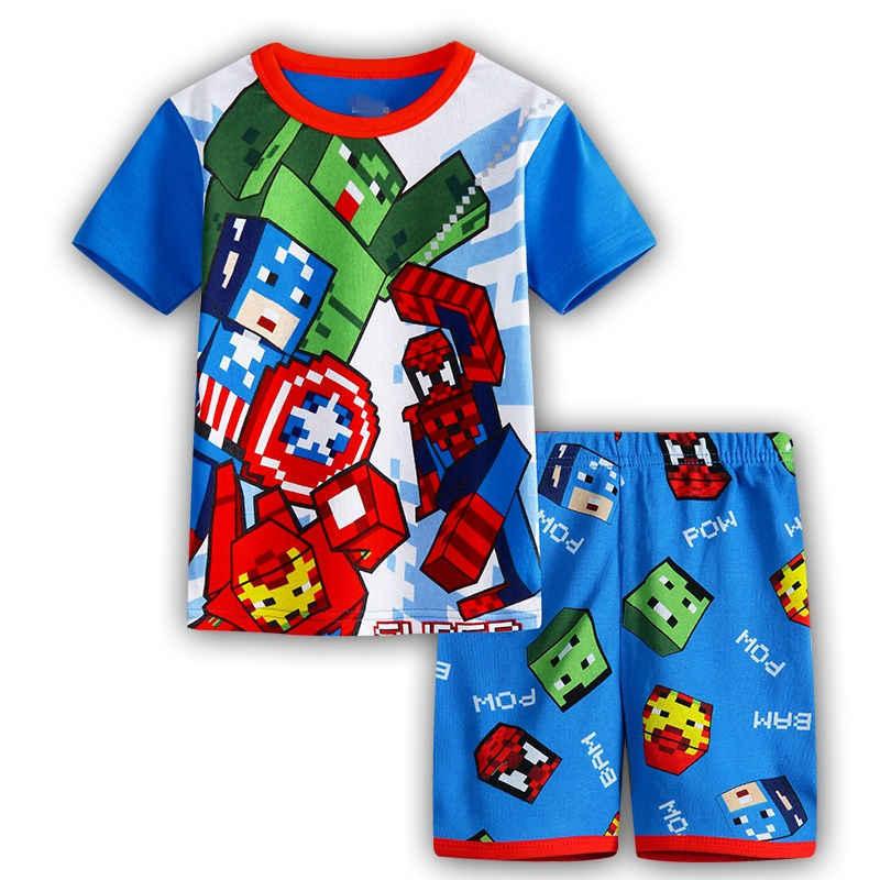 769c764551d ... 2019 New Kids Boys Girls Clothes Baby Pajamas Summer Short Sleeved Set  Cartoon Spiderman Children s Sleepwear ...