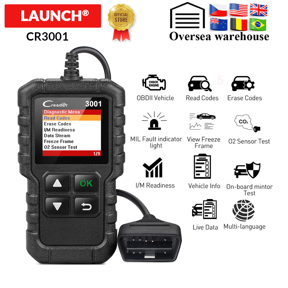 LAUNCH X431 CR3001 Full OBD2 Scanner OBD 2 Engine Code Reader Creader 3001 Car Diagnostic tool PK CR319 AD310 ELM327 Scan tool bracelet