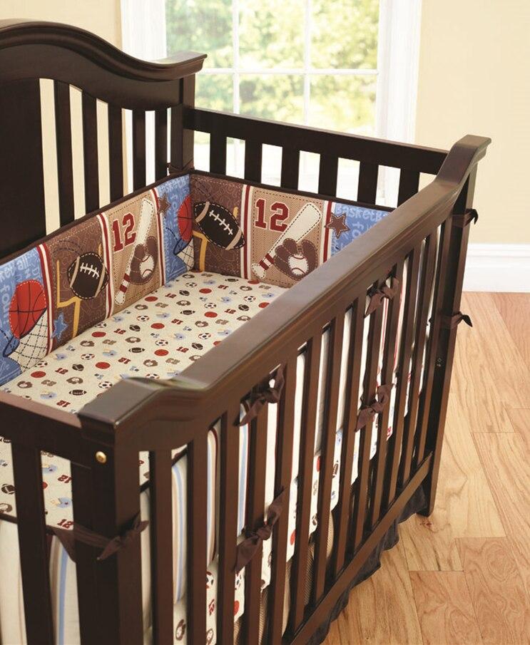 Promotion! 5PCS cartoon Crib Baby Bedding Set 100% Cotton Print Cot Bumper Kids Cot Set ,(4bumper+bed cover) promotion 5pcs cartoon cot baby bedding set 100