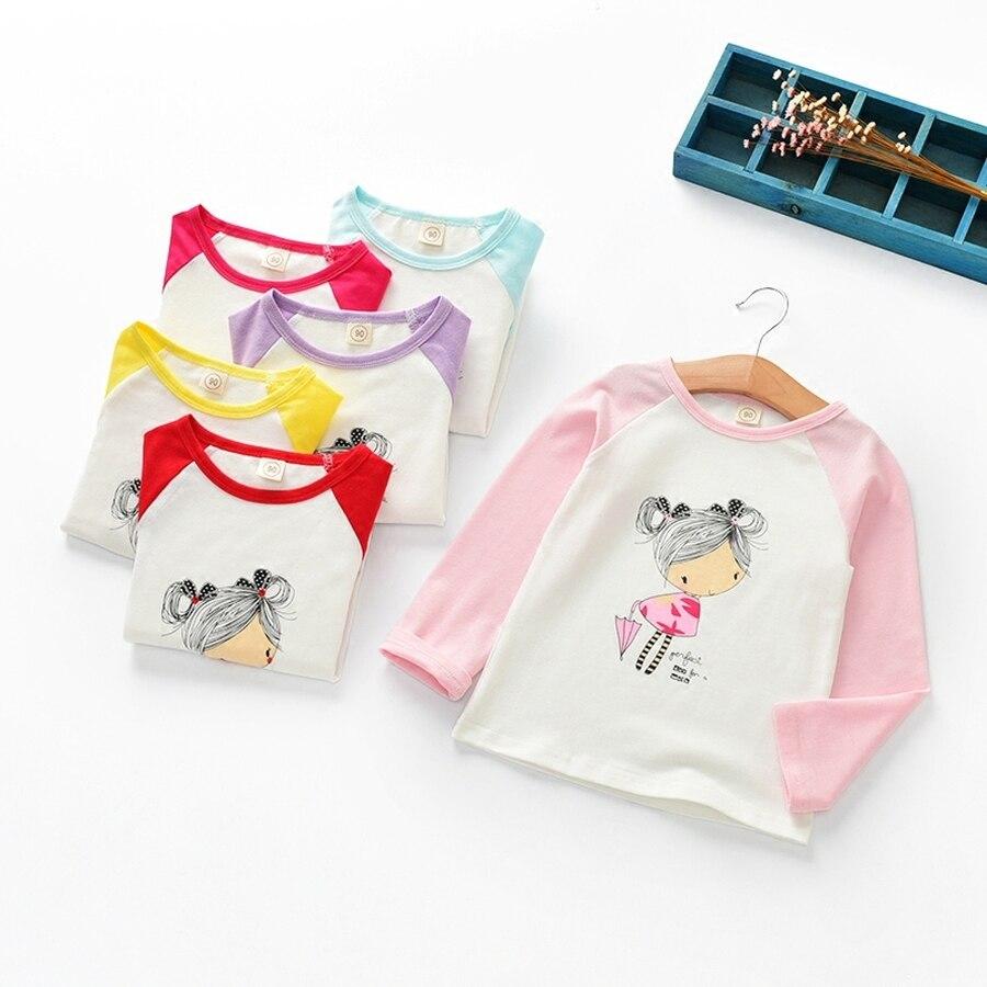 Famli Baby Girls T-shirt Children Spring Long Sleeve Cartoon Character Print Casual Tee Top Autumn Baby Kids Tshirt Clothing