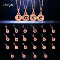 CMajor 925 Solid Silver Jewelry Alphabet Rose Gold Colour With Stone Chain Pendant Necklaces