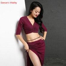 Conjunto de danza del vientre para mujeres Otoño e Invierno ropa de tela plateada trajes top + falda 2 uds principiantes de danza Oriental