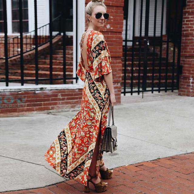 69cc79f2ee4 Boho Inspired Babushka Printed maxi dress kimono style sleeves plunging  V-neck backless sexy summer dresses women vestidos 2018
