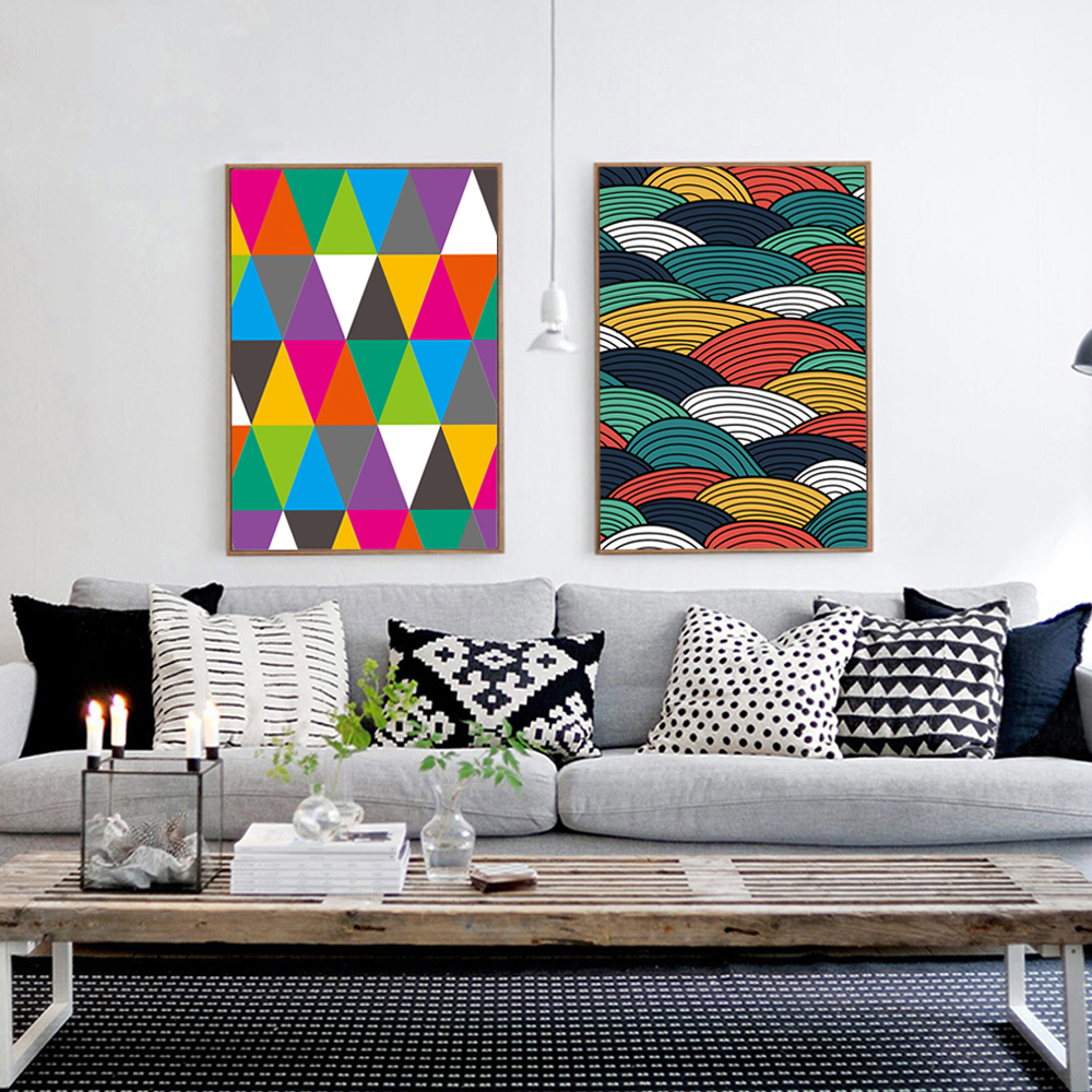 modern art for office. Wave Triangle Color Abstract Art A4 Print Poster Image Modern Canvas Fresco Living Room Bedroom Office Decorative Painting AB025-in \u0026 Calligraphy For I