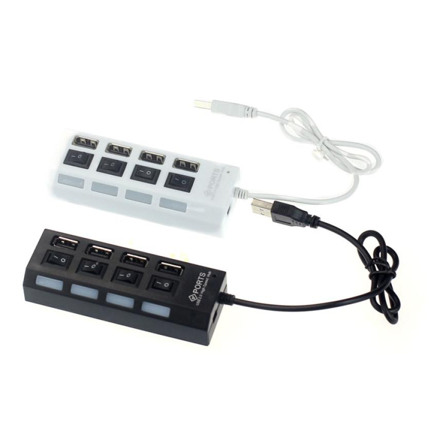 Best Price Mini USB 2.0 Hub 4 Ports LED USB High Speed Adapter USB Hub With Power on/off Switch For PC Laptop Computer