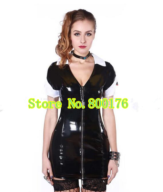 Buy Black PVC Dress Latex Sexy Catsuit Costume PVC Leather Catwoman  Clubwear Clothes Halloween Nurse Cosplay Dress Costume S-2XL