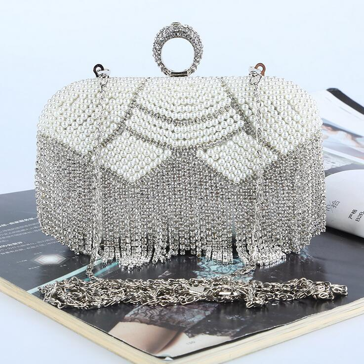 Pearl diamonds Finger Ring Evening bag women's rhinestone Day clutch wedding/party bags ivory/champagne Beading Purse handbags anu tammeleht country studies of two major english speaking countries
