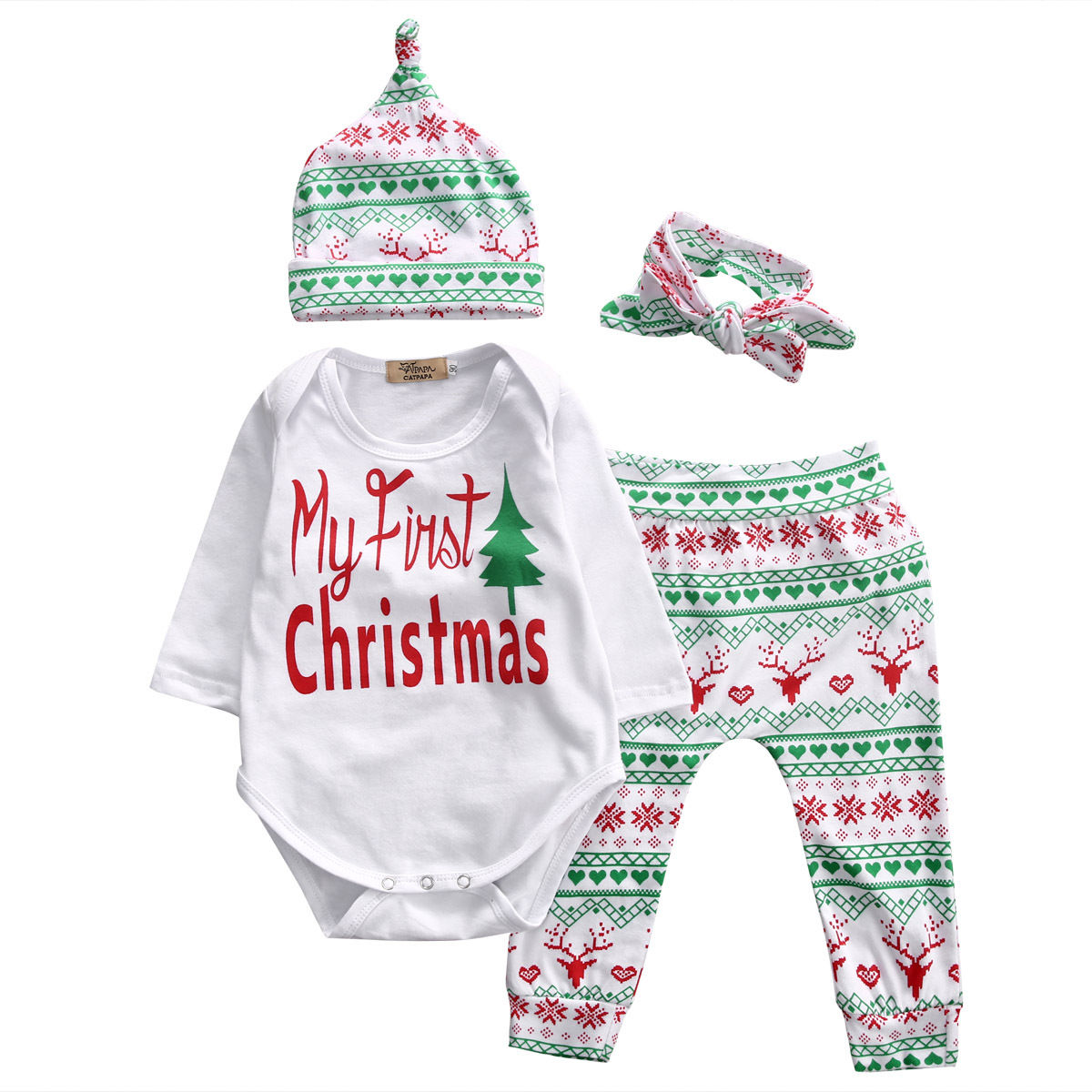 Boys Romper Pants Casual Cute Leggings Girls Clothing 4PCS Set Christmas Infant Baby Boy Girl Clothes Tops Outfits Garments Kids 2pcs set baby clothes set boy