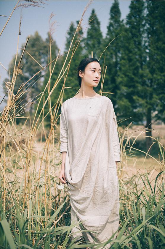Плюс размер хлопок и лен Ретро женское Платье Халаты сафьян, турецкие халаты платья Свободное длинное богемное пляжное платье женские макси платья - Цвет: Бежевый