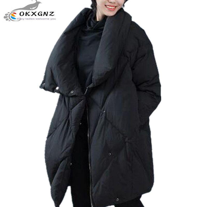 OKXGNZ Corea 2017 Nuevas Mujeres de Invierno Abrigo de La Manera yardas Grandes