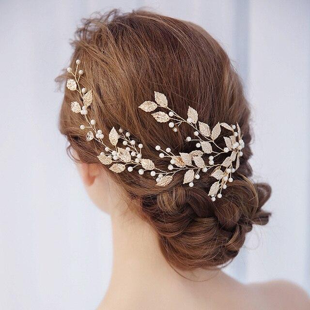 Nuevo hoja de oro perla pura handcraf novia diademas boda tocado de novia  cortos joyería del 038cd9d42260