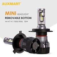 AUXMART 2pcs MINI H4 LED Headlight For Car 50W 6500K CR Chips 9005 9006 Led H7