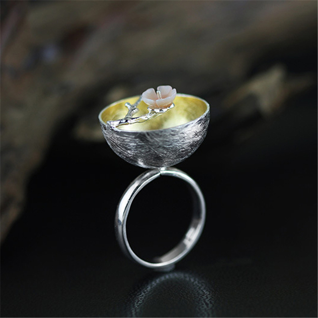 Lotus Fun Real 925 Sterling Silver Natural Handmade Fine Jewelry Flower Ring The Aroma of Wintersweet Rings for Women Bijoux