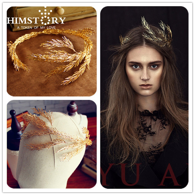 HIMSTORY Handmade Gold /Silver Branch Crown Tiara Headbpieces Leaf Evening Party  Hair Accessoies